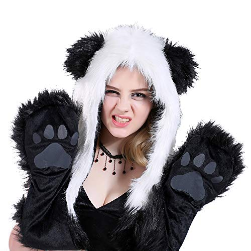 Animal Hat Hood Scarf with Paws Mittens Attached for Adults Kids Winter-Panda