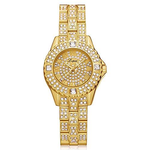 WJSWZT Reloj de Pulsera de Cuarzo para Mujer con Esfera Redonda y Tachuelas y Diamantes de imitación para Mujer Elegante Oficina Damas, Dorado (Varios)