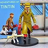 Les Aventures De Tintin Et Milou Tintin Anime Figura de acción de las aventuras de Tintín Colección de PVC Modelo Muñecas Regalos (Color: Cortavientos con caja)