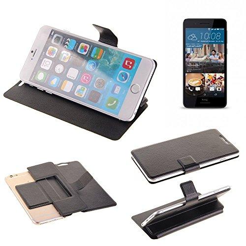 K-S-Trade® Handy Schutz Hülle Für HTC Desire 728G Dual SIM Flip Cover Handy Wallet Case Slim Bookstyle Schwarz