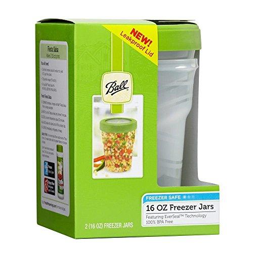 Ball Jar Plastic Pint Freezer Jars with Snap-On Lids, 16-Ounces (2-Count)