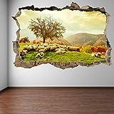 3D pegatinas de pared de ovejas plantas árboles otoño paisaje pegatinas mural vinilo habitación niños EA13 Art Poster