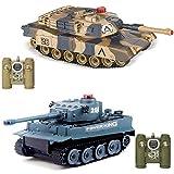 WQJJ 2PCS RC Fighting Battle Tanks, Abrams vs Tiger Infrared Battle Remote Control Tanks, 2.4Ghz RC Battle Tank Remote Control Military Vehicle