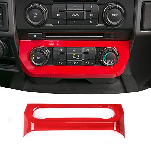 JeCar Central Console Air Conditioner Adjust Switch Panel Cover Trim for Ford F150 2015-2019(Red)