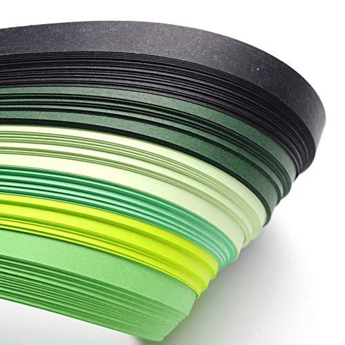 Craftdady Quilling-Papierstreifen, 530 x 10 mm, allmählich, grün, für Bastelarbeiten, Party-Dekoration, 120 Stück