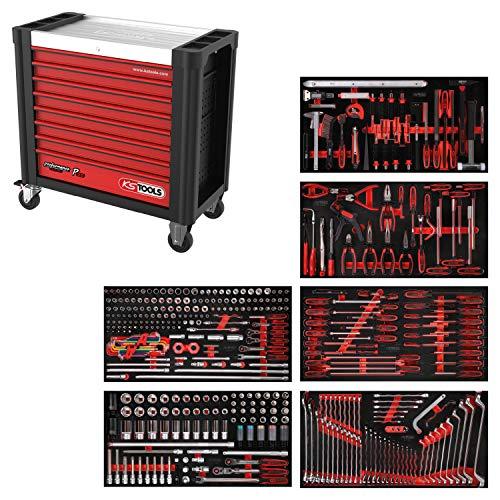 KS Tools 825.6416 PERFORMANCEplus Werkstattwagen P25, bestückt mit 416 Werkzeugen in 6 Einlagen für 6 Schubladen