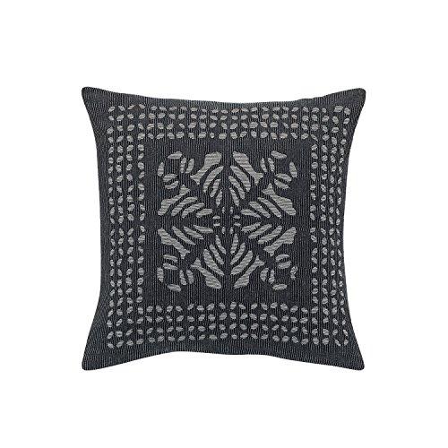 Vivaraise Coussin Soraya avec garnissage Moelleux - Taie d'oreiller Lavable - 100% Coton - Housse Amovible – Accessoire de décoration – Gris
