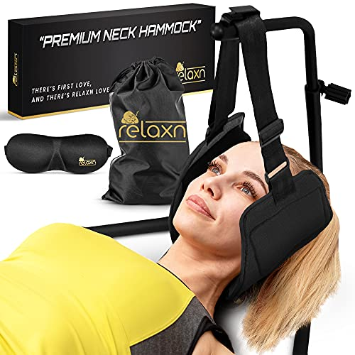 Relaxn Neck Hammock, Premium Neck Stretcher for Pain Relief & Muscle Relaxation, Cervical Neck Traction Device Perfect for Home, Office, & Outdoor Use, Durable Head Hammock with Portable Stand