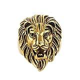 COPAUL Schmuck Herren Edelstahl Ring Löwe Gold Größen 54 (17.2) - 75 (23.9)