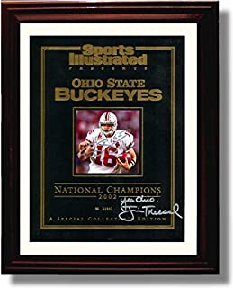 Framed Ohio State Craig Krenzel, Jim Tressel 2002 National Championship Sports Illustrated Autograph Replica Print - Ohio State