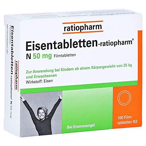 Eisentabletten-ratiopharm N 50 mg Filmtabletten, 100 St. Tabletten