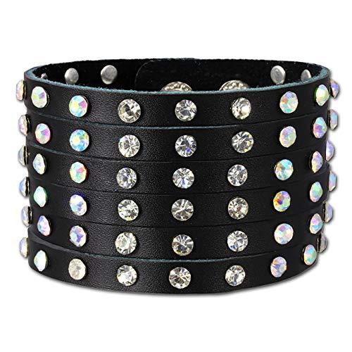 SilberDream Unisex-Armband Leder schwarz mit Zirkonia Nieten Metall LAC221S