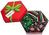Rainbow Socks - Donna Uomo Il Box di Calze Natalizie Per Regalo - 3 Paia - Stelle di Pan di Zenzero Agrifoglio Strisce - Taglia 41-46
