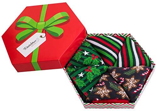 Rainbow Socks - Hombre Mujer Calcetines de Navidad Para Regalo - 3 Pares - Rayas Acebo Estrellas de Pan de Jengibre - Talla 41-46