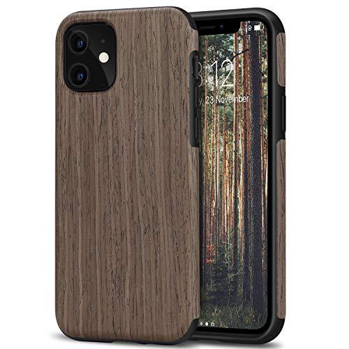 TENDLIN Kompatibel mit iPhone 11 Hülle Holz Schutzhülle & TPU Hybrid Handyhülle (Schwarz Palisander)