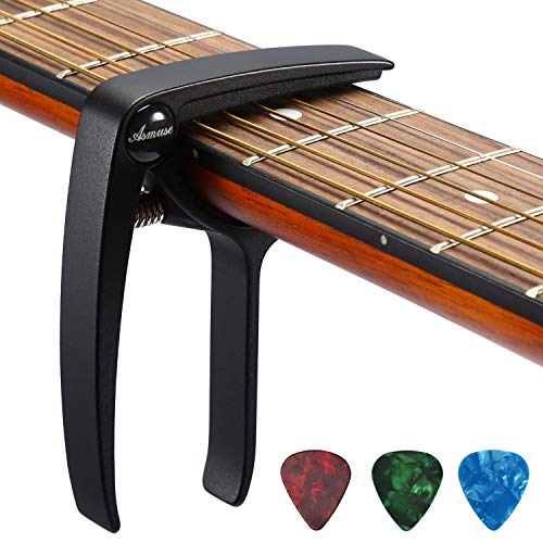Guitar Capo Trigger Single Hand Use Black Capos for Acoustic Electric Guitars Bass Ukulele with 3pcs Guitar Picks