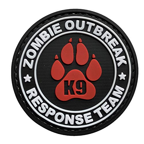Zombie Outbreak Response Team K9 Paw Canine Unit Tactical PVC Patch Combat Badge with Hook Fastener Backing (Red)