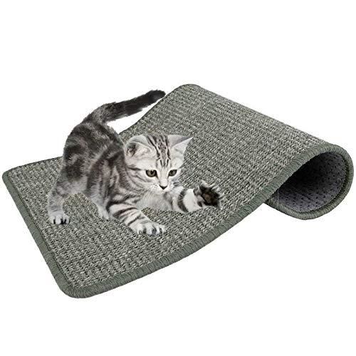Lukovee Katzenkratzmatte, natürliches Sisal-Seilkratzkissen zum Kratzen von Katzenkrallen und zum Schutz von Teppichteppichmöbeln, strapazierfähiges rutschfestes l (15,7 x 23,6 Zoll) (Grau)