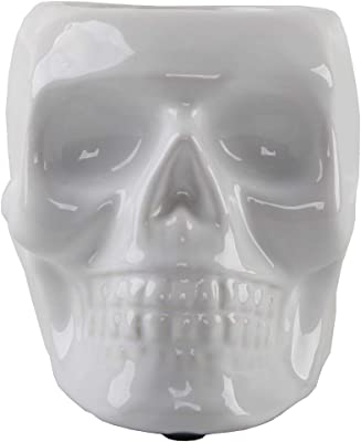 Flora Bunda 4.5 Inch Ceramic Sugar Skull Planter, White