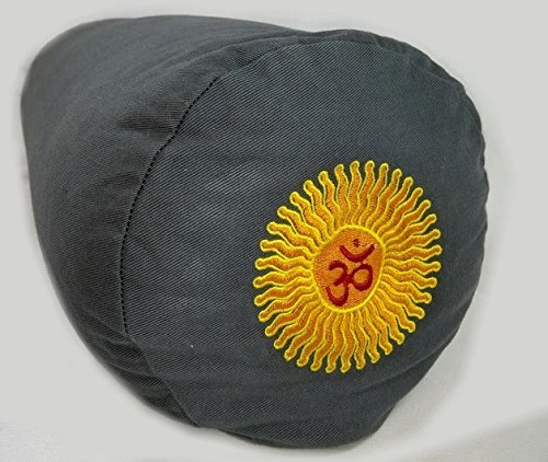 Yoga Bolster Filled with Buckwheat Hulls - Deluxe(Grey with Yellow Symbol)
