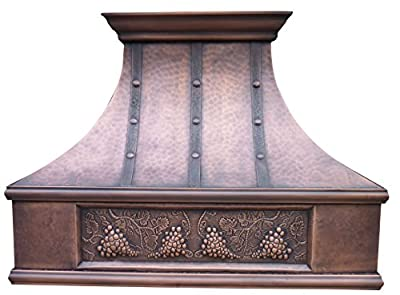 Copper Vent Hood with Tuscan Design Hand Embossed Decorative Grape Pattern, Range Hood Insert Included Sinda H7LTRGR