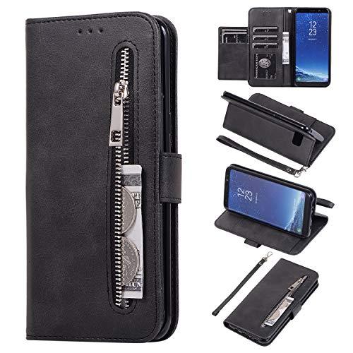 EYZUTAK Hülle für Samsung Galaxy S7 Edge, Magnetverschluss Reißverschluss Brieftasche Hochwertig PU Leder mit 5 Kartenfächern Standfuntion Innen Weiche TPU Klapphülle mit Handschlaufe - Schwarz
