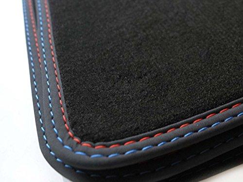 Fußmatten E87 1er M1 (Velours, Premium) Doppelnaht Edition Rot - Blau Automatten
