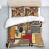 966 LICUNNI Parure de Lit Musique Funky Fractal Géométrique Carré Fond avec Figure Guitare Acoustique 1 Housse De Couette 140 * 200cm+ 2 Taies d'oreiller 65 * 65cm