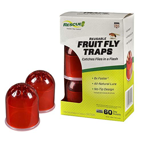 RESCUE! Indoor Non-Toxic Reusable Fruit Fly Trap with Liquid Attractant – 2 Pack