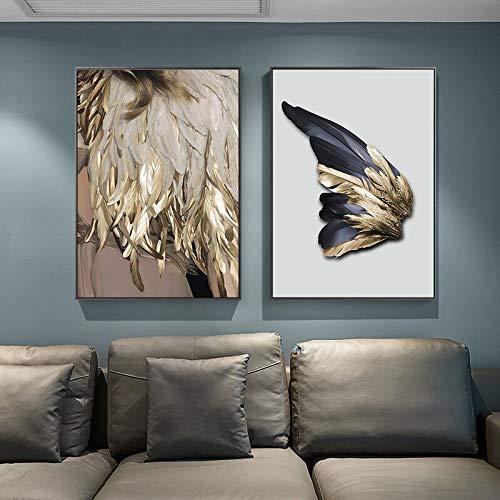 N / A Pintura sin Marco Nordic alas Doradas Pluma Lienzo Pintura decoración única Arte Moderno Sala de Estar Dormitorio pasilloZGQ6902 40X60cmx2