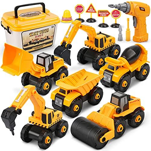 Dreamon Vehículo de Construcciones Juguete, Ensamblarde Excavadora Tractor con Taladro-Eléctrico Juguetes Educativos...