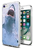 Shark Case for iPhone 8/iPhone 7,Gifun Anti-Slide Clear Soft TPU Premium Flexible Protective Case for Apple iPhone 8/iPhone 7 -Beautiful White Shark