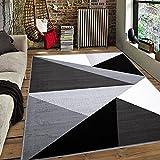 Carpetilla Alfombra de salón de pelo corto, vintage, patrón triangular, color negro, blanco y gris, tamaño: 160 x 230 cm