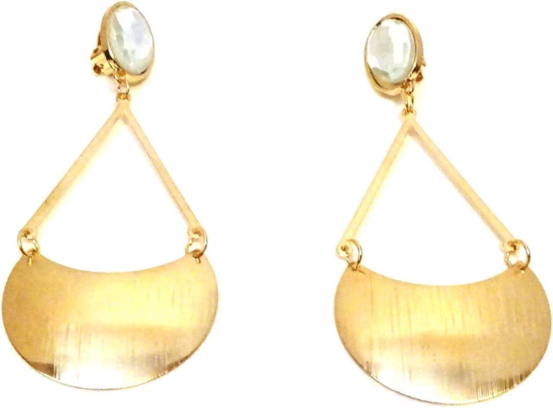 Clip on Earrings Gold Tone Dangle Earrings Drop Earrings Crescent Drop
