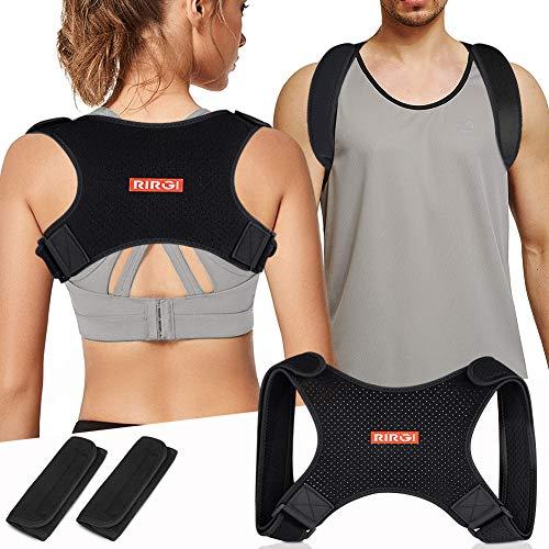 RIRGI Corrector de Postura para Hombres y Mujeres, Corrector de Espalda Ajustable y Transpirable, Alivio al Dolor de Cuello, Espalda y Hombro (Negro)
