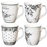 Set di 4 tazze con manico 'Rosa', ca. 400 ml, grigio e bianco, 4 varietà, in ceramica, tazza da caffè Jumbo
