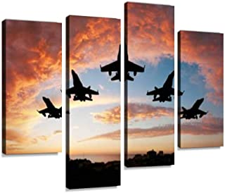 4 لوحات خمس طائرات غروب الشمس صور خماسية صور ملكية مجانية صور قماشية ديكور منزلي هدايا قماش فن جداري لغرفة المعيشة الخاصة بك