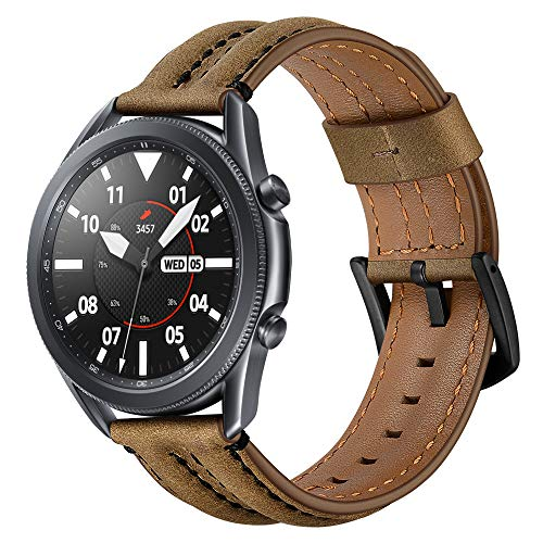 HATALKIN 22mm Band Compatible with Samsung Galaxy Watch 3 45mm Band, Premium Leather Replacement Bands for Glaxy Watch3 45mm/ Gear S3/ Galaxy Watch 46mm (Crazy Horse Brown)