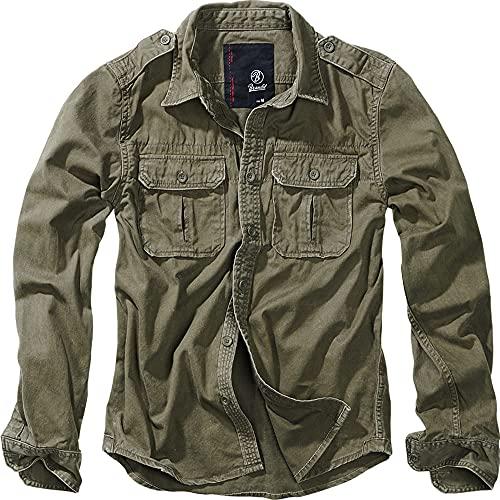 Brandit Vintage Camicia Maniche Lunghe E Maniche Corte, Taglie S Fino A 7XL - Oliva Longsleeve, L