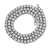 Collar de regalo para mamá, mujeres, niñas, hombres, hip hop, cadena de tenis multicapa, collar con incrustaciones de diamantes de imitación, regalo de joyería – plata 24 pulgadas, plateado