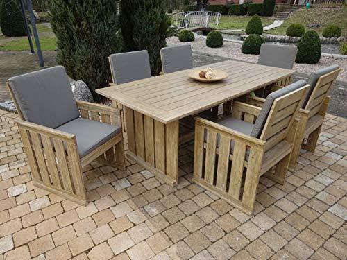 SG 19-teilige Luxus Gartenmöbelgruppe Tita, in BAU-Holz-Optik, Siena Garden