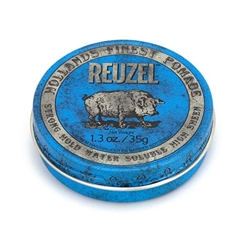 REUZEL Blue Pomade, Strong Hold, Water Soluble, 1.3 oz.