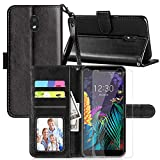 Axiay LG K30 2019 Case, LG Journey LTE/LG Escape Plus/LG Arena 2/LG Tribute Royal Wallet Case with 2 PCS HD Screen Protector,Kickstand Magnetic Card Slots Wrist Strap Shockproof Leather Cover,Black