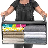 Large Capacity Clothes Storage Bag Organizer with Reinforced Handle Thick Fabric for Comforters, Blankets, Bedding, Foldable with Sturdy Zipper, Clear Window,Folding, 90L, Grey