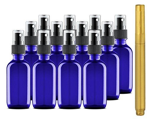 Culinaire Confezione da 12 di 2 Oz bottiglie di vetro blu con Spray oro e top in vetro penna