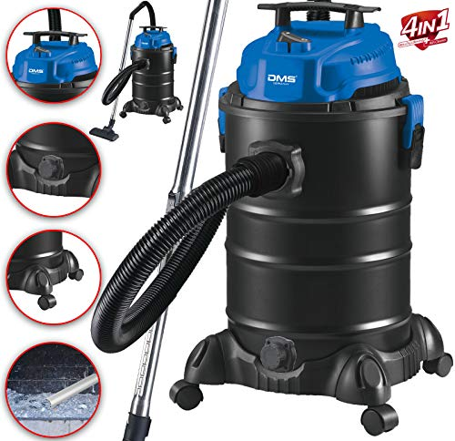DMS® NTAS-30 4-in-1 industriële stofzuiger, 1800 watt, natte as, droog, stofzuiger zonder zak, 30 liter, metaal, aszuiger, multifunctionele stofzuiger, waterstofzuiger zonder zak, blaasfunctie blauw