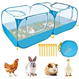 Eyein Small Animals Playpen, Portable Large Chicken Run Coop with Breathable Transparent Mesh Walls, Foldable No Bottom Pet Cage Tent with 4 Zipper Doors for Rabbit, Duck, Birds, Outdoor Yard