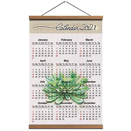 2021 Calendar Succulent Hanging Poster Wall Art - Linen Canvas Print Painting Pictures with Teak Wood Hanger 16 x24 inch for Wall