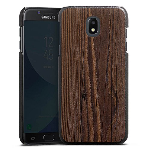 DeinDesign Cover kompatibel mit Samsung Galaxy J3 Duos 2017 Lederhülle schwarz Leder Hülle Leder Handyhülle Holz Erscheinungsbild Maserung