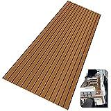 LUBEMIDA EVA Foam Boat Flooring Sheet Marine Faux Teak Decking Carpet for Yacht Floor,94.5'x35.4' Adhesive and Bevelled Edge (Light Brown +Black)